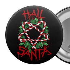 "HAIL SANTA Funny Badge Button Pin 55mm 2.25"" Satan Christmas Candy Pentagram"