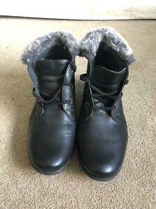 Josef Seibel Ladies Boots Shoes Black Leather Furry Inside 6 UK 39