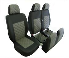 FORD TRANSIT MK7 2006-2012 RHD or LHD GREY ECO LEATHER Seat Covers 2+1
