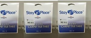 """3) Stay 'N' Place ~ 4"""" x 4"""" ~ Carpet Tile Tabs by Mohawk quick & easy 8 Qty"""