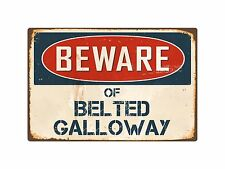 "Beware Of Belted Galloway 8"" x 12"" Vintage Aluminum Retro Metal Sign VS050"