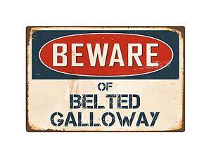 "Beware Of Belted Galloway 8"" x 12"" Vintage Aluminum Retro Metal Sign VS050"