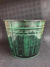 "New Dover M504Ag Green Black Medium Metal Flower Misc. Tub Can Pail 8.5"" X 7"""