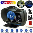 OBD2+GPS HUD Gauge Head Up Display Car Digital Speedometer Turbo RPM Alarm Temp