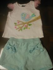 Toddler Girls 2pc Outfit, Mud Pie Shirt 4T, Sea Green Gymboree Shorts 3T