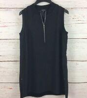Lafayette 148 New York Womens sz S Black Foley Knit Trim Matte Silk Blouse