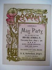 """1890 Dance Card for """"Annual May Party"""" Held At Union House,Cuttingsville,VT (N)*"""