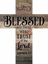 Blessed are Those Who Trust Jeremiah 17:7 Rustic Wood Wall Art Cross Plaque