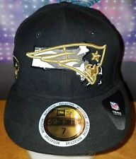 New England Patriots Flag Reflective 59FIFTY FITTED Hat Cap Size 7 Black & Gold