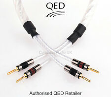 2 x 2.0m QED GENESIS SILVER SPIRAL Speaker Cable AIRLOC Forte Plugs Terminated