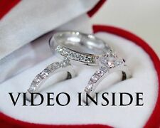 Sterling Silver Engagement & Wedding Ring Sets with Diamonds