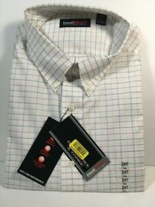 New ROUNDTREE & YORKE Travel Smart White Long Sleeve Checked Shirt, Tall 18 1/2