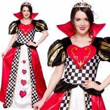 Ladies Wonderland Queen Of Hearts Costume Book Week Alice Fancy Dress Outfit