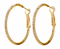 Swarovski Elements Crystal Fantastic Hoop Pierced Earrings Gold Authentic 7220w