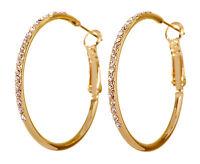 Swarovski Elements Crystal Fantastic Hoop Pierced Earrings Gold Authentic 7220v