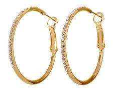 Swarovski Elements Crystal Fantastic Hoop Pierced Earrings Gold Authentic 7220c
