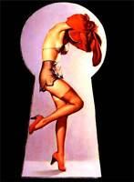 """Vintage GIL ELVGREN Pinup Girl CANVAS ART PRINT Poster Keyhole Peek 16""""X 12"""""""