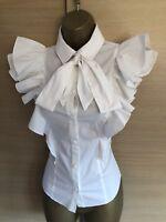 Exquisite Karen Millen White Super Frill Pussy Bow Shirt Blouse UK14