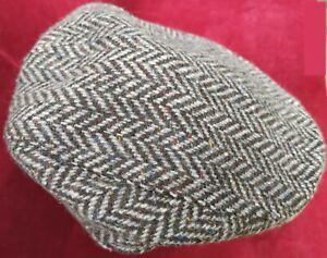 Donegal Grey Herringbone Vintage Flat Cap Handmade in Ireland