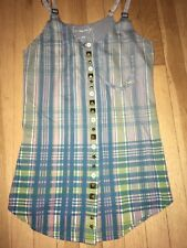 Free People / We The Free Plaid Stud Star Button Up Tank Top Small Blue Green