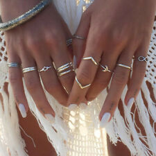 12Pcs/Set Women Stack Plain Above Knuckle Ring Boho Silver Midi Finger Tip Rings