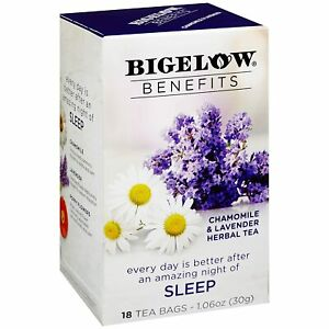 TEA SLEEP CHAMOMILE & LAVENDER Herbal TEA Bigelow Benefits (18 bags x 1 box)