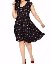 City Chic Crepe De Chine A Line Sweet Dragonfly Dress Size Large