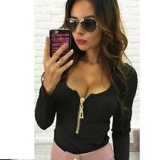 Fashion Women Sexy Deep V Neck Long Sleeve Zipper Casual T-shirt Top Blouse WL