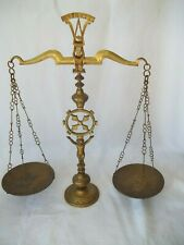 """Large Vintage Brass Scales Of Justice Balance Scale 22"""" Tall"""