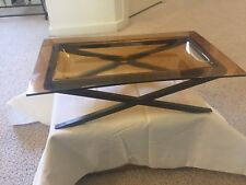 Decorative Glass Dish - Color:  Brown With Metal Stand