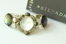 "Silpada ""Jasmine"" Sterling Silver Moonstone Pearl Labradorite Bracelet B2967"