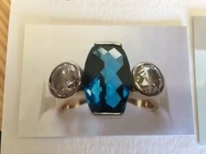 9ct Yellow Gold Handmade Topaz and Diamond Ring Includes Valuation £5,300