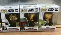 Funko Pop Galactic Convention Star Wars  Chrome Bundle Storm Trooper Yoda Bobba