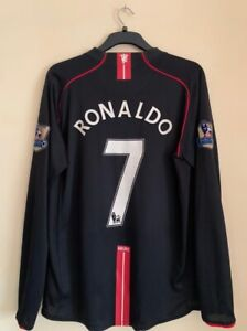 Manchester United Away 2007/08 Long Sleeves Ronaldo Size XL