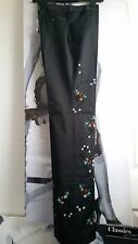 """WOMEN BLACK TROUSERS/PANTS STRAIGHT """"RICCI ANDRIST"""" SEQUINS BEADS EMBROIDERY 42"""