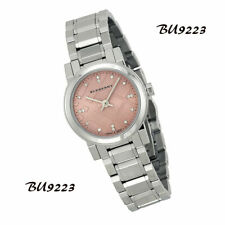 Authentic Burberry Diamond Pink Dial Stainless Steel Ladies Watch BU9223