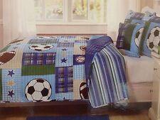 5 pc Kids Expressions Reversible Sports Full Quilt, Shams, & Deco Pillow Set NIP