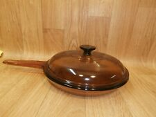"""Large Visions Cookware: Corning 10"""" skillet fry pan pot with lid France"""