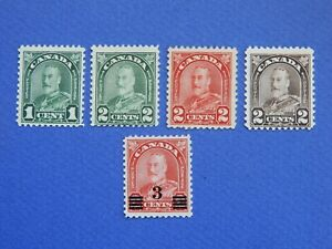 """#163-66, 191 MNH  King George V """"Arch/Leaf"""" and """"Admiral"""" Provisional issue, $24"""