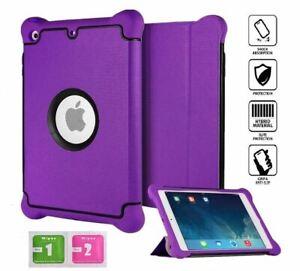 iPad Mini 2/3 Upscale Silk Leather Shock Proof Silicone PC Case Cover Purple