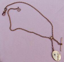 1 Vintage Antique Victorian K R Gold F Locket T Bar Pocket Watch Chain Necklace
