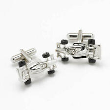 Silver Racing Sports Car Cufflinks With Gift Pouch Fast Driver F1 Present New