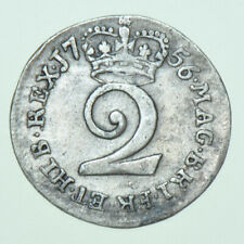 More details for 1756 george ii maundy twopence, british silver coin aef