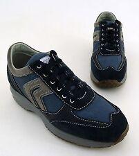 Sneaker Geox Respira Junior Schnürer Halbschuhe Leder grau blau Gr. 36