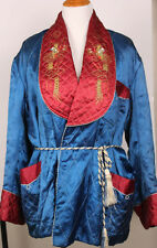 Vintage Japanese Kimono Quilted Bed Jacket Silk Embroidered Dragon 50s 60s