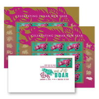 USPS New Lunar New Year:  Year of the Boar Keepsake (2 panes)