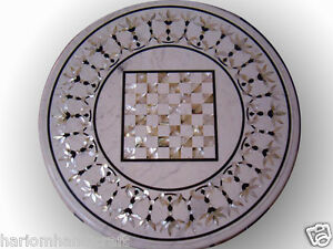"24"" White Marble Center Side Table Top Mother Of Pearl Mosaic Living Room H621"