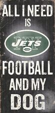 New York Jets Football and Dog Wood Sign [NEW] NCAA Man Cave Den Wall