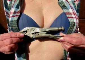 Vintage Petersen Dewitt Curved Jaw Vise Grip Locking Pliers W/Side Cutters. 5WR
