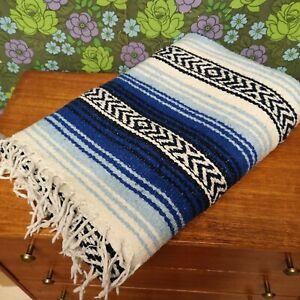 Mexican Sky Blue & Blue Woven Stripy Falsa Yoga Blanket / Throw